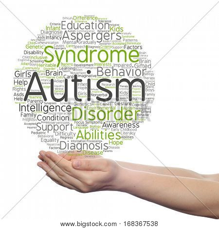 Concept conceptual childhood autism syndrome symtoms disorder abstract word cloud held in hands isolated on background metaphor to communication, social, behavior, care, autistic, speech  difference