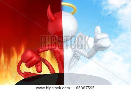 Angel And Devil Character Split 3D Illustration