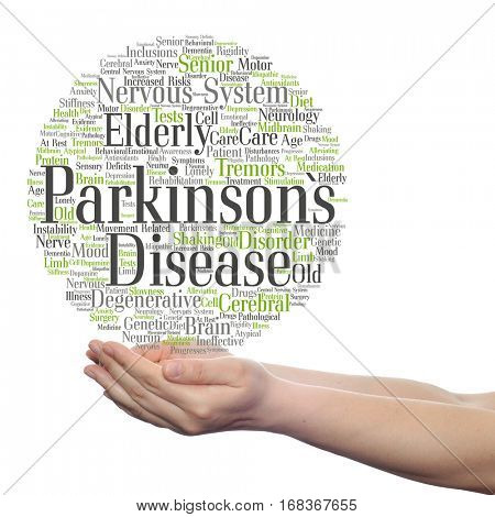 Concept conceptual Parkinson`s disease healthcare nervous system disorder abstract word cloud held in hands isolated on background metaphor to healthcare, illness, degenerative, genetic, symptom brain