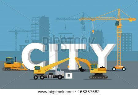 City development concept. Build banner in flat style. Modern building process. Construction of residential houses banner. Big building area. Icons of construction machinery. Vector illustration