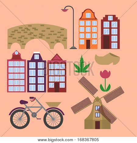 Amsterdam city flat line art. Travel landmark architecture of netherlands Holland houses european building isolated set windmill bridge bike shoes and lamp.