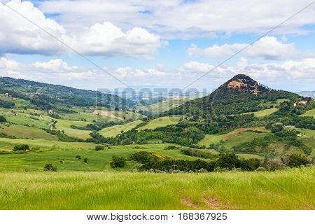 Tuscan Landscape, Fields And Meadows Near Volterra