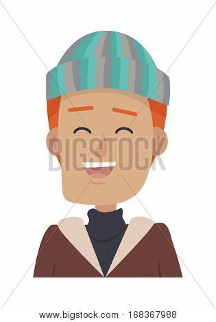 Hat. Smiling young man in colourful hat. Male with red hair wearing stripped bright hat. Cap with blue, green, silver lines. Brown jacket. Dark silver sweater. White background. Vector illustration