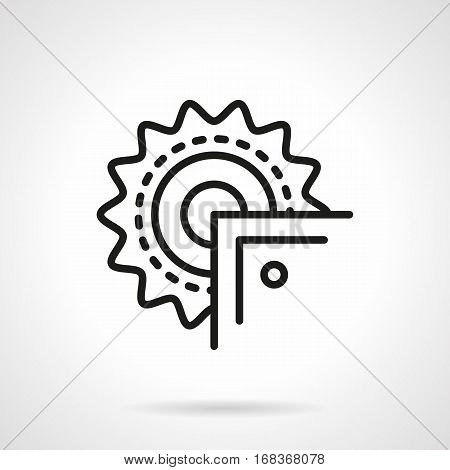 Symbol of blade for electric circular saw. Metal products processing. Equipment for workshops, factory. Black simple line design vector icon.