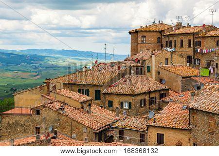 Ancient Center Of Village Volterra In Italy