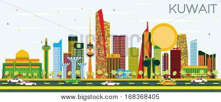 Kuwait Skyline with Color Buildings and Blue Sky. Vector Illustration. Business Travel and Tourism Concept with Modern Architecture. Image for Presentation Banner Placard and Web.