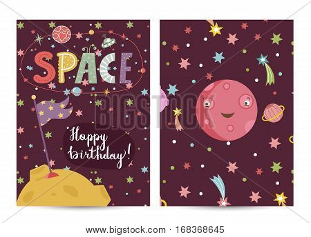 Happy birthday cartoon greeting card on space theme. Smiling red planet Mars, flag on Moon surrounded by stars, planets and comets vector illustration. Bright invitation on childrens costumed party