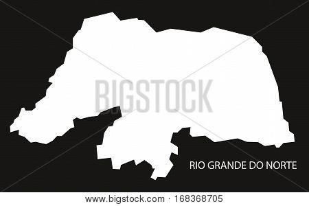 Rio Grande Do Norte Brazil Map Black Inverted