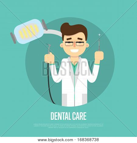 Smiling male cartoon dentist in white coat holding dental instruments, vector illustration. Dental treatment concept. Tooth care and restoration, stomatology and orthodontics. Dental office banner