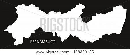 Pernambuco Brazil Map black inverted silhouette illustration