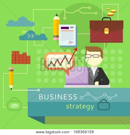 Business strategy. Performance analysis banner. Person working at laptop, making financial planning or generating report. Presentation. Business man search for solutions infographics. Vector