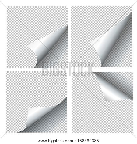 Curled paper sheets. Page curls set vector illustration. Collection of checkered curled sheet for brochure or banner