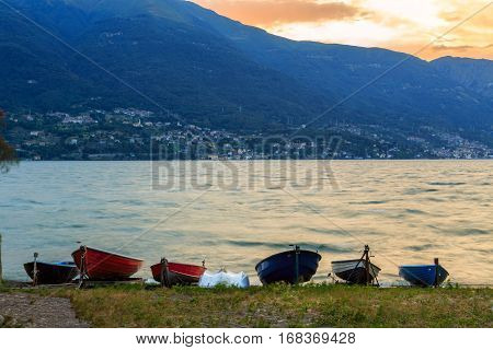 Stormy sunset in lake Como. Italy Europe