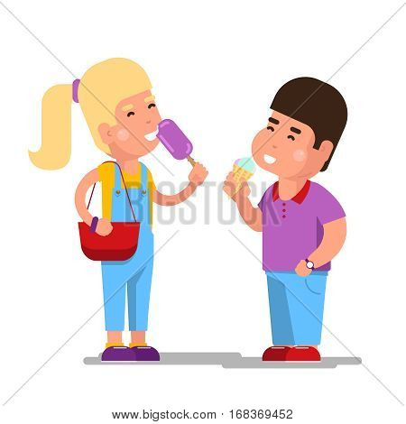 Kids with ice cream vector illustration. Cartoon children eating sweet icecream isolated on white background. Boy and girl with cold ice cream in hands