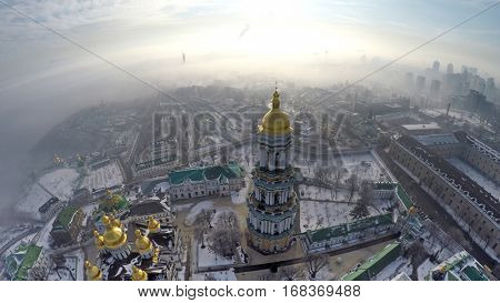 aerial view Kiev-Pechersk Lavra in winter fog