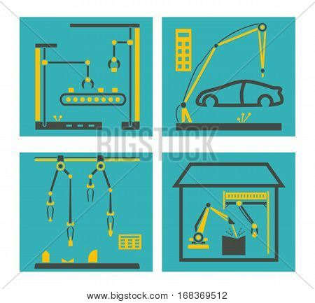 Conveyor manufacturing with robot arms. Robots hands packaging and electronic assembly factory vector. Automatic assembly car illustration