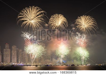 The 45th UAE National Day celebration fireworks in Dubai Marina. United Arab Emirates Middle East