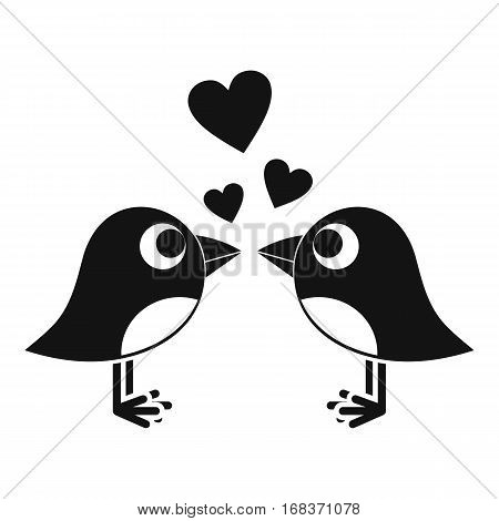 Two birds with hearts icon. Simple illustration of two birds with hearts vector icon for web