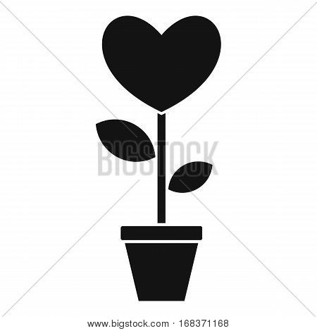 Heart flower in a pot icon. Simple illustration of heart flower in a pot vector icon for web