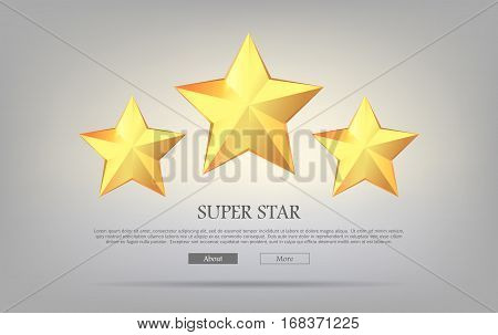 Super stars. Three golden stars on silver background. Shining, glossing, brightful rewards. Great pictures. Different sizes. Winning. Big star and two little. Flat design. Vector illustration