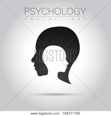 Modern head logo of Psychology. Profile Human. Creative style. Logotype in vector. Design concept.