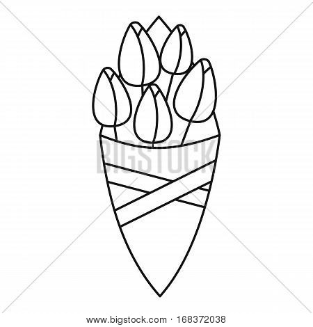 Bouquet of tulips wrapped in a paper icon. Outline illustration of bouquet of tulips wrapped in a paper vector icon for web