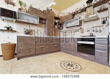Beautiful wooden country style kitchen interior with decors