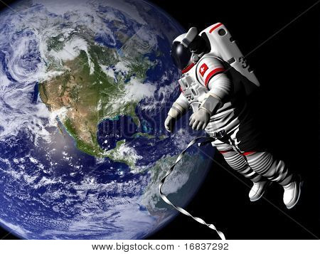 Spaceman in outer space