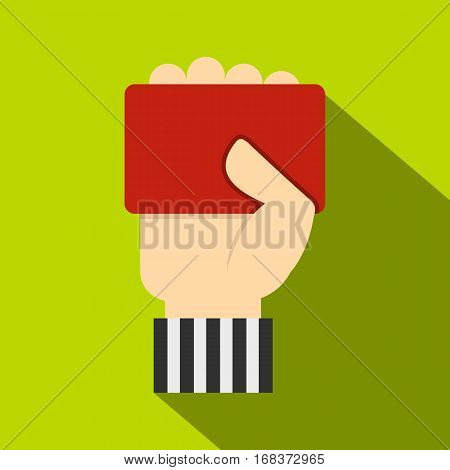 Hand of soccer referee showing red card icon. Flat illustration of hand of soccer referee showing red card vector icon for web   on lime background