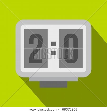 Electronic soccer scoreboard icon. Flat illustration of electronic soccer scoreboard vector icon for web   on lime background