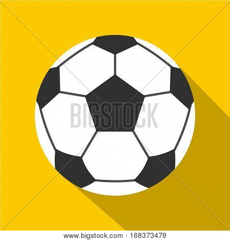 Leather soccer ball icon. Flat illustration of leather soccer ball vector icon for web   on yellow background