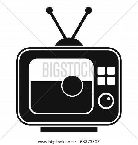 Soccer match on TV icon. Simple illustration of soccer match on TV vector icon for web