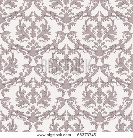 Vintage Baroque damask floral pattern acanthus Imperial style. Vector decor background. Luxury Classic ornament. Royal Victorian texture for papers, textile, fabric. Taupe color