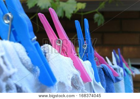 Pink and blue plastic pegs washing on clothes line in backyard