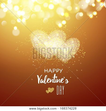 Happy Valentines day cad. Two heart. Decorative light background with lot of little hearts. Vector illustration