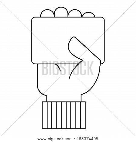Referee hand holding card icon. Outline illustration of referee hand holding card vector icon for web