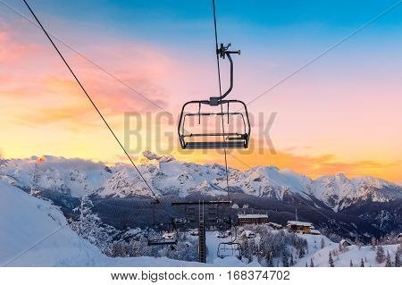 Winter mountains panorama with ski slopes and ski lifts near Vogel ski center Slovenia
