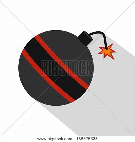 Bomb ready to explode icon. Flat illustration of bomb ready to explode vector icon for web   on white background