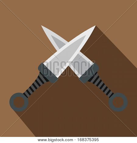 Steel throwing knives icon. Flat illustration of steel throwing knives vector icon for web   on coffee background
