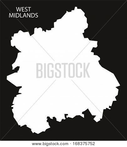 West Midlands England Map Black Inverted