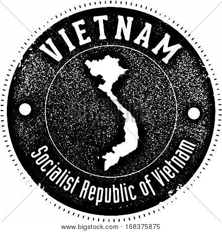 Vietnam Vintage Style Country Stamp
