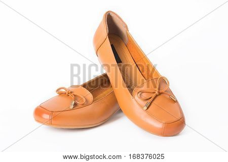 Beautiful vintage Pair of fashion woman leather shoes with front view profile isolated on white background.