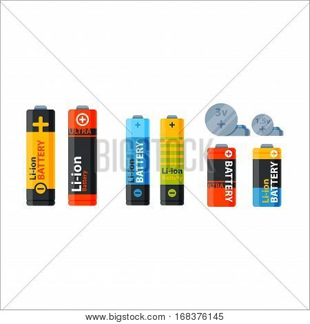 Battery energy tool vector illustration. Electricity charge fuel positive supply. Disposable generation component alkaline technology double rendering alkaline objects.