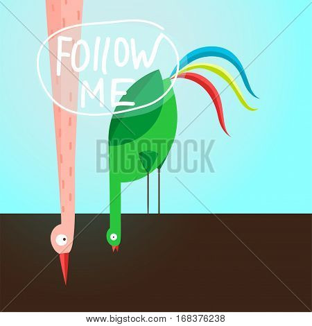 Follow me, label social network followers behaviour graphic design. Vector illustration.