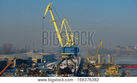 Crane ship repair port in Ukraine on the bank of the Dnieper River