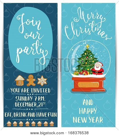 Invitation on Christmas party with date and time. Snow globe with Santa, Christmas tree, gifts, gingerbread cookies cartoon vector. Merry Christmas and happy New Year greetings. Xmas holiday celebrate
