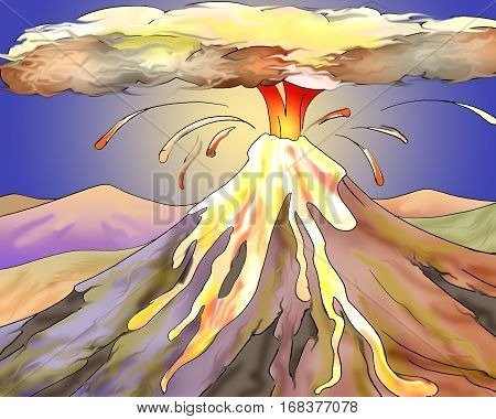 Volcano Eruption with Hot Lava. Digital Painting Background Illustration in cartoon style character.