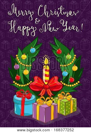 Merry christmas and Happy New Year cartoon concept with lettering. Christmas wreath with colorful toys, candle, wrapped gifts vectors on violet. Xmas celebrating. For greeting card, party invitation