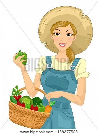Illustration of a Farm Girl in Overalls and a Straw Hat Carrying a Basket Filled with Fruits and Vegetables