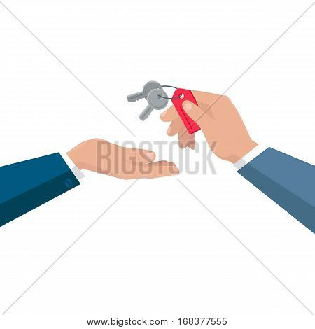 Keys from dwelling vector concept. Flat design. Realtor gives keys from apartments their new owner.  Illustration for real estate company advertising, housing concepts. Isolated on white background.